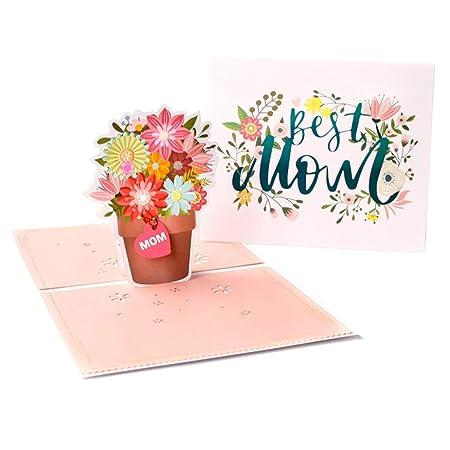 GUOQIAO - Tarjeta de felicitación 3D con flores creativas ...