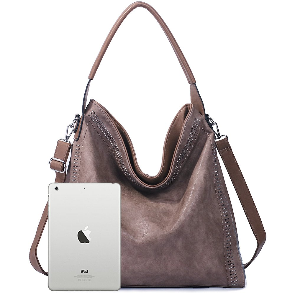 Handbags for women Hobo PU Leather Shoulder Satchel Bags Top-handle Large Capacity Purse Rivets Grey Brown by JOYSON (Image #5)