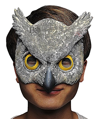 Wholesale Masquerade Masks On A Stick (Maze Unique Fun Yellow Eyed Feather Pattern Owl Head Latex Half Face Mask, 1- One Size)
