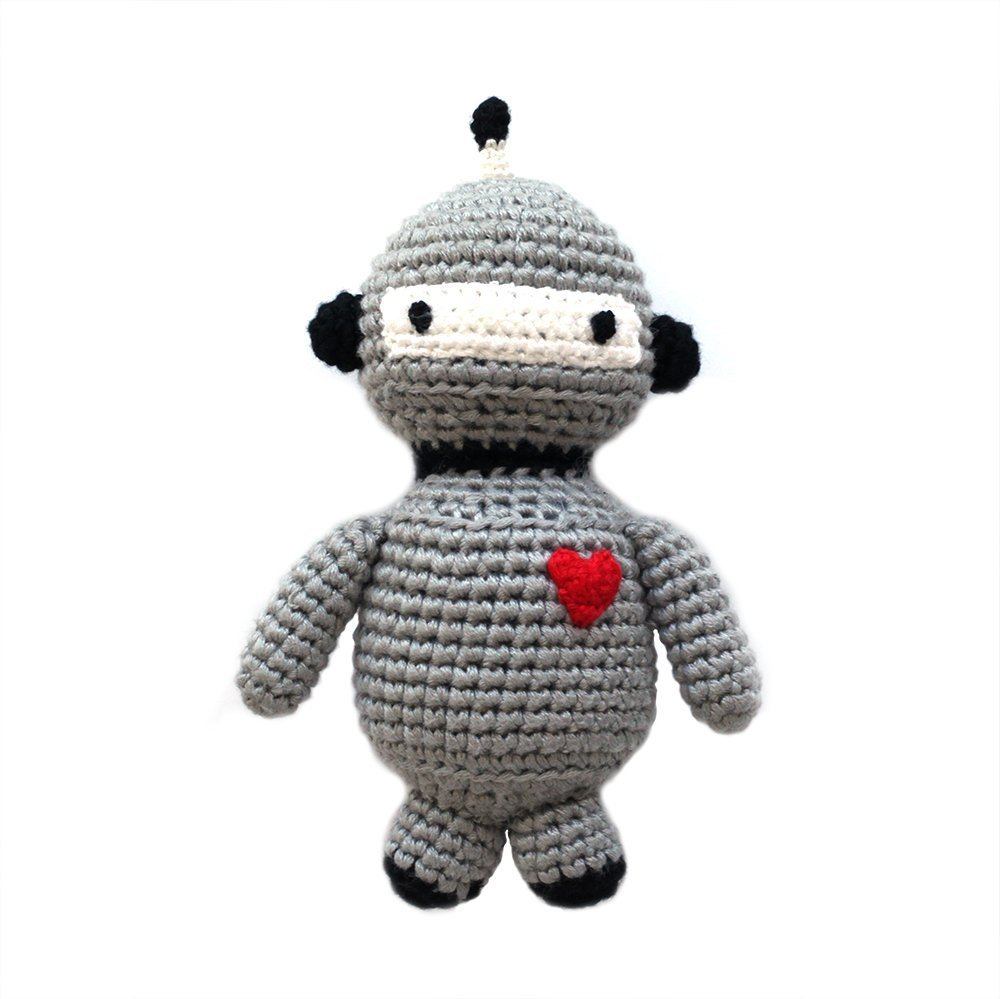 Robot Hathay Bunano p.s. Cheengoo Sustainable Organic Bamboo Hand Crocheted Rattle