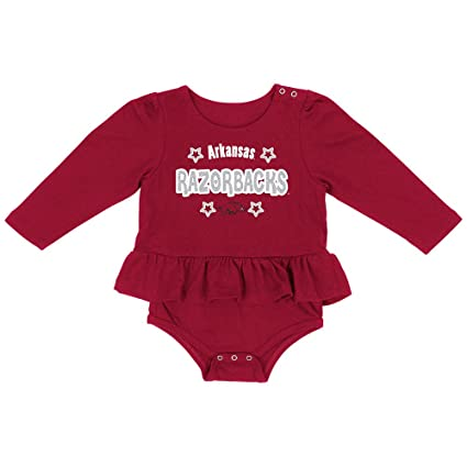 95802a3f Colosseum Arkansas Razorbacks Infant Girl's Red Rock-A-Bye LS One Piece  Outfit (