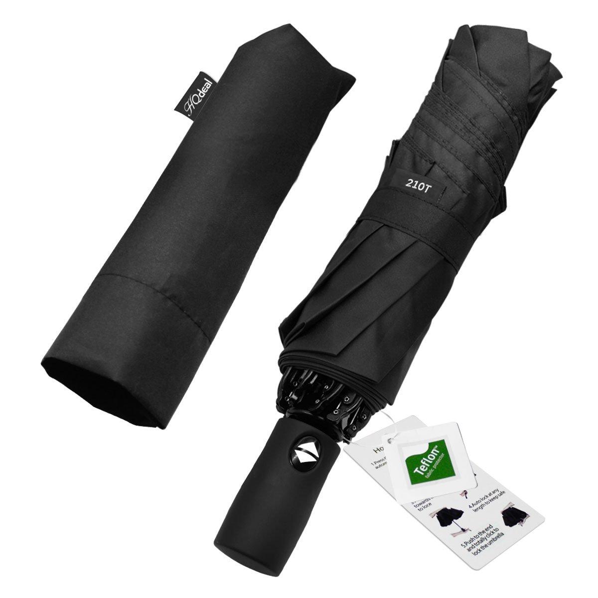 HQdeal Automatic Compact Travel Umbrella with Reverse and Safe Lock Design, Teflon 210T Auto Open Close Folding Strong Windproof Umbrella Black