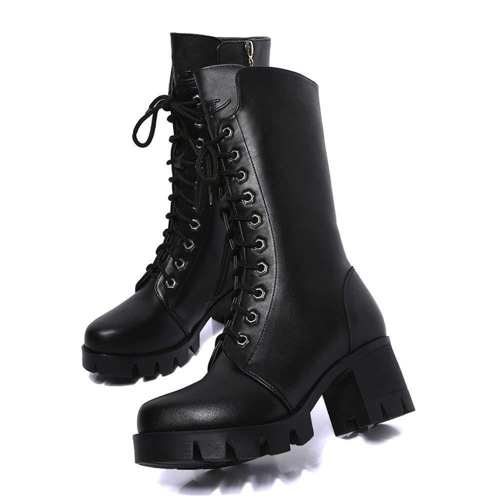 HhGold Damenstiefel Stiefeletten Damen Ankle Stiefelies Leder Ritter Damen Damen Damen Martin Stiefel Zip Cowboy Schuhe Casual Stiefel Mode Freizeit Kurze Stiefel (Farbe   Schwarz, Größe   39 EU) f85865