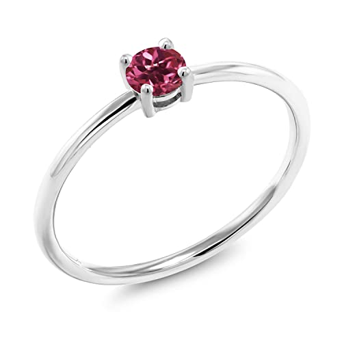 Gem Stone King 0.24 Ct Round Pink Tourmaline 10K White Gold Solitaire Ring