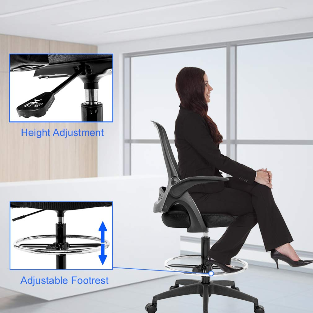Drafting Chair Tall Office Chair Desk Chair Mesh Computer Chair Adjustable Height with Lumbar Support Flip Up Arms Swivel Rolling Executive Chair for Standing Desk by BestOffice (Image #5)