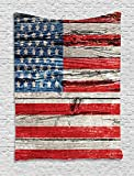 Cheap Ambesonne Rustic Decor American USA Flag Tapestry Wall Hanging, Fourth of July Independence Day Painted Wooden Panel Wall Looking Image Freedom, Bedroom Living Room Dorm Decor, 60 W x 80 L Inches