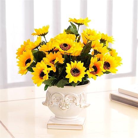 Amazon.com: Flor Artificial Girasol el amarillo real Touch ...