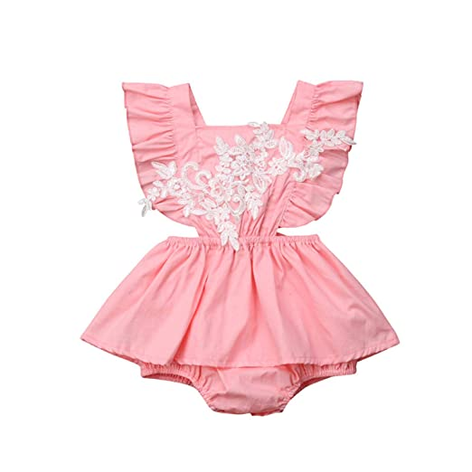 a9988a93848 Lace Toddler Baby Girls Clothes Backless Ruffle Cotton Casual Bodysuit  Square Collar Sleeveless Floral Print Jumpsuit