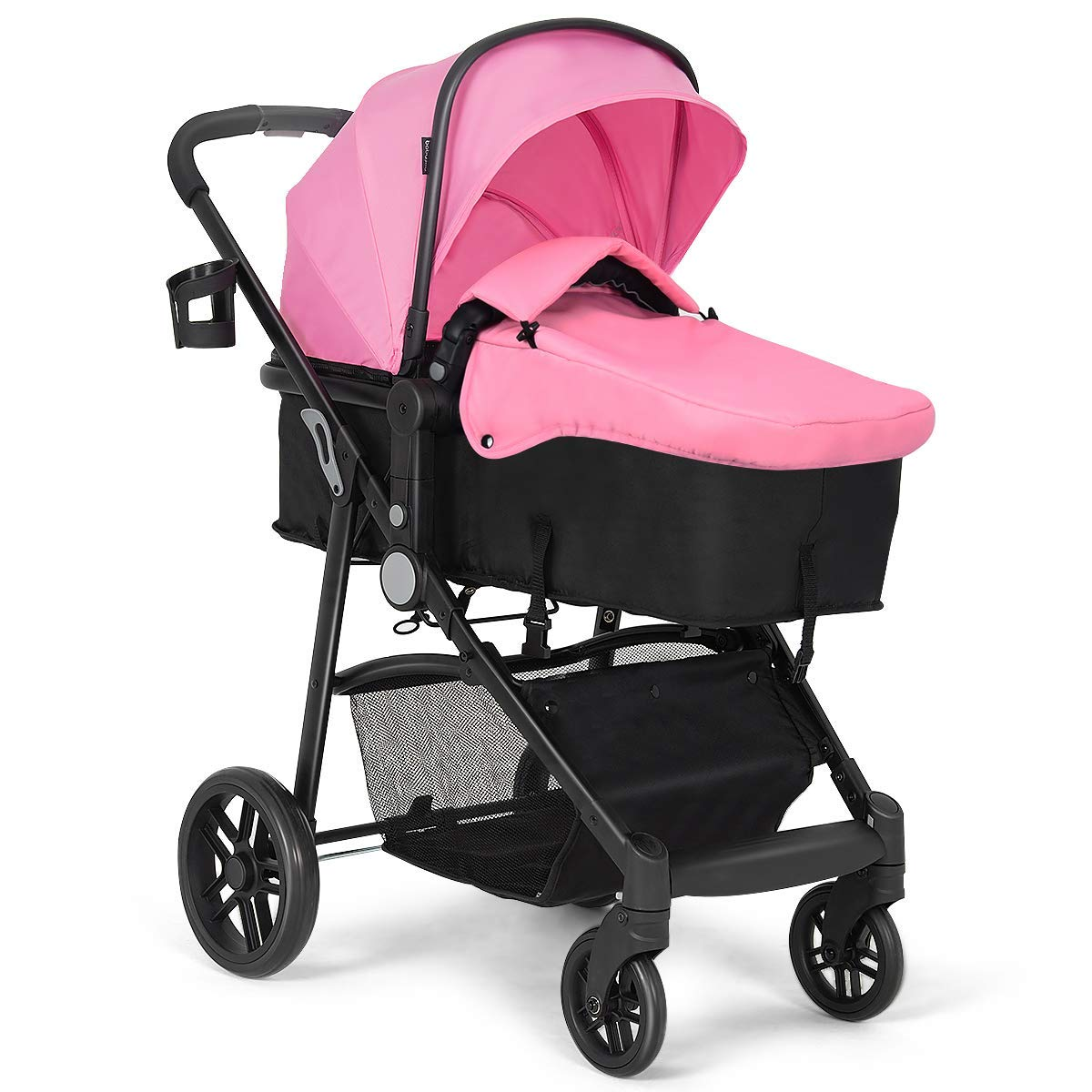 Costzon Baby Stroller, 2 in 1 Convertible Carriage Bassinet to Stroller, Pushchair with Foot Cover, Cup Holder, Large Storage Space, Wheels Suspension, 5-Point Harness (Pink Color)