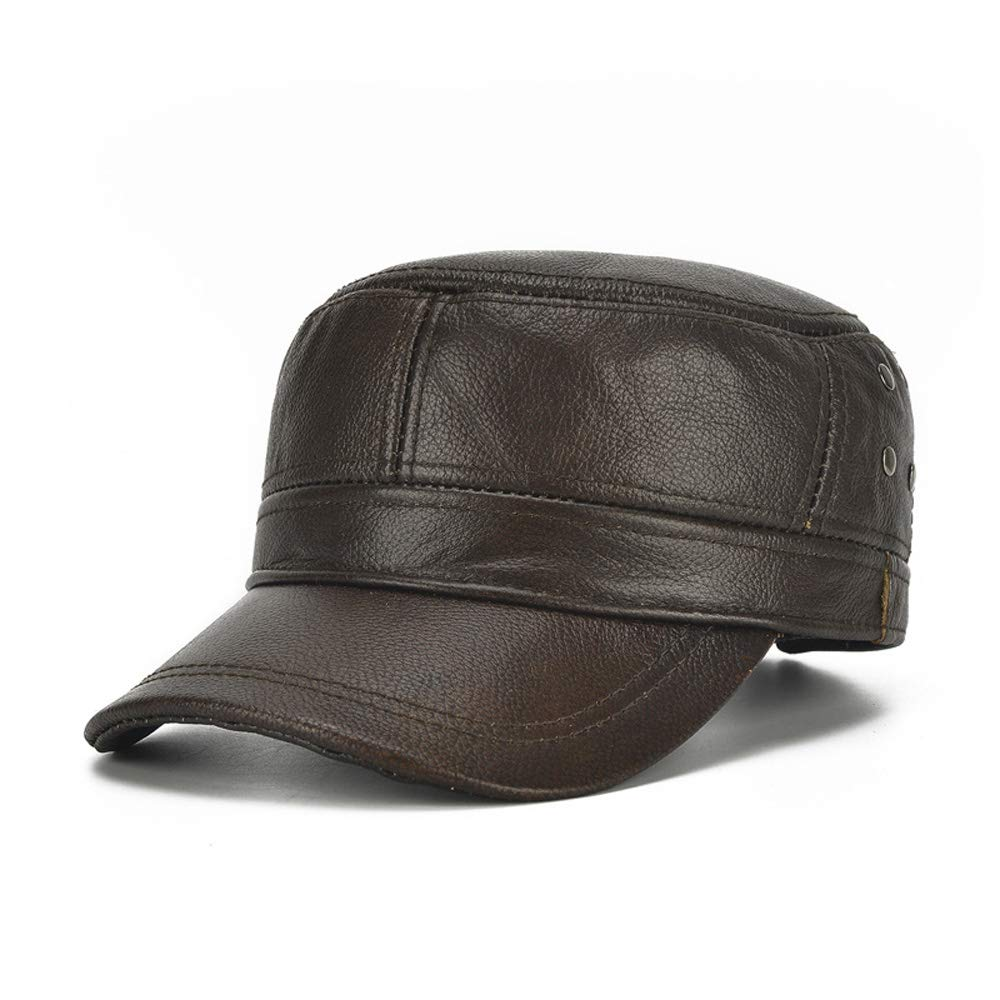 Exquisite hat Elegant Classic Winter Men Leather Hat Mens Plus Cotton Warm Baseball Cap Adjustable Winter Leather Cap Gentleman Hat Color : Brown, Size : 56-60CM