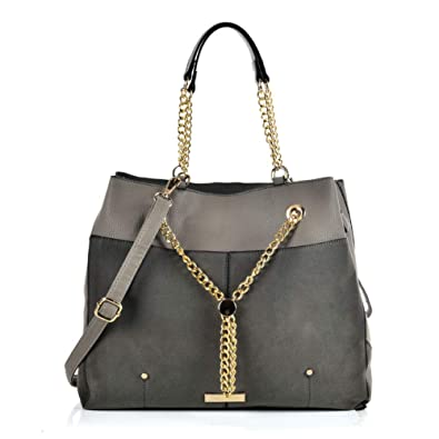 524b0c7fb81d71 Sally Young Leather Look Stitching Shoulder Handbag Elegant Design Top  Handle Fashion Handbags for Women (