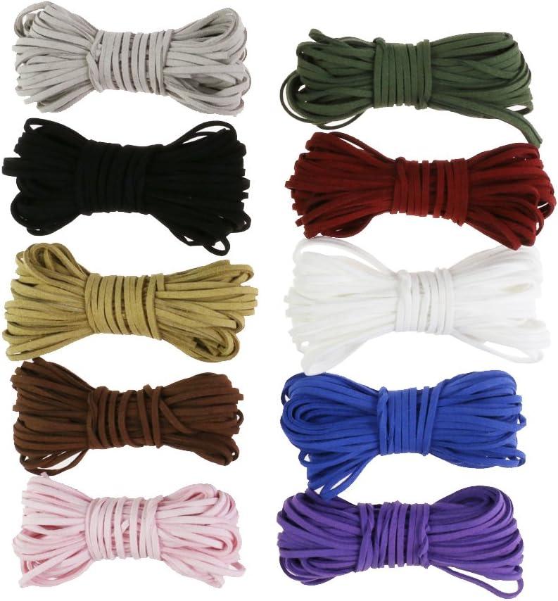 120 Metros Faux Suede String Craft Cordón de cuero Alambre DIY Joyería Pulsera Collar que hace rebordear hilo 10 colores