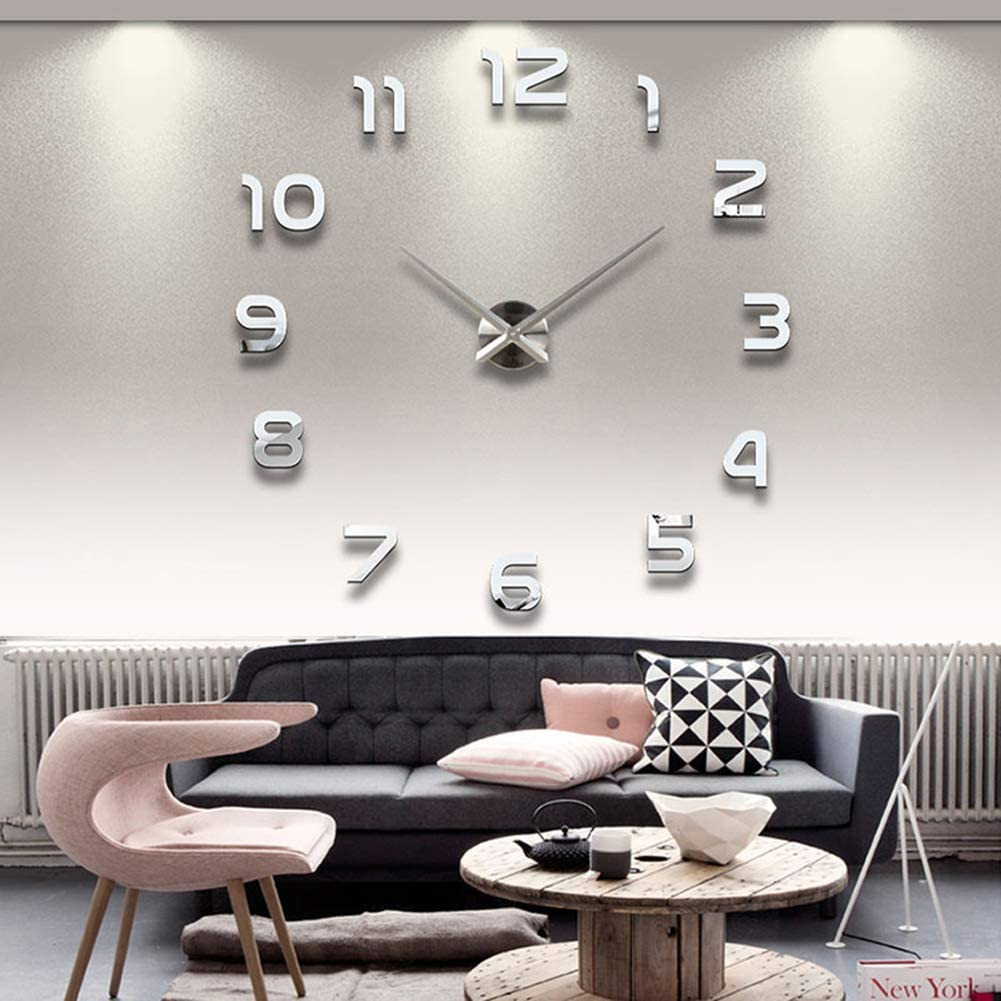 Frameless 3D DIY Wall Clock Mirror Surface Decorative Clock Large Mute Wall Stickers for Living Room Bedroom Home Decorations (Silver)