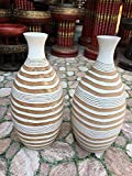 A Pair of Mango Wood Vase Hand-Crafted, Floor Vase 15 inches (No.0023)