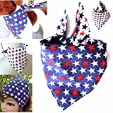 Reversible Patriotic Tie Style Dog Bandanna, Red White and Blue Dogwear Petwear, Triangle Scarf Doggie Neckwear