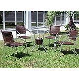 Jogo de mesa com balde de bebidas e 4 cadeiras para jardim