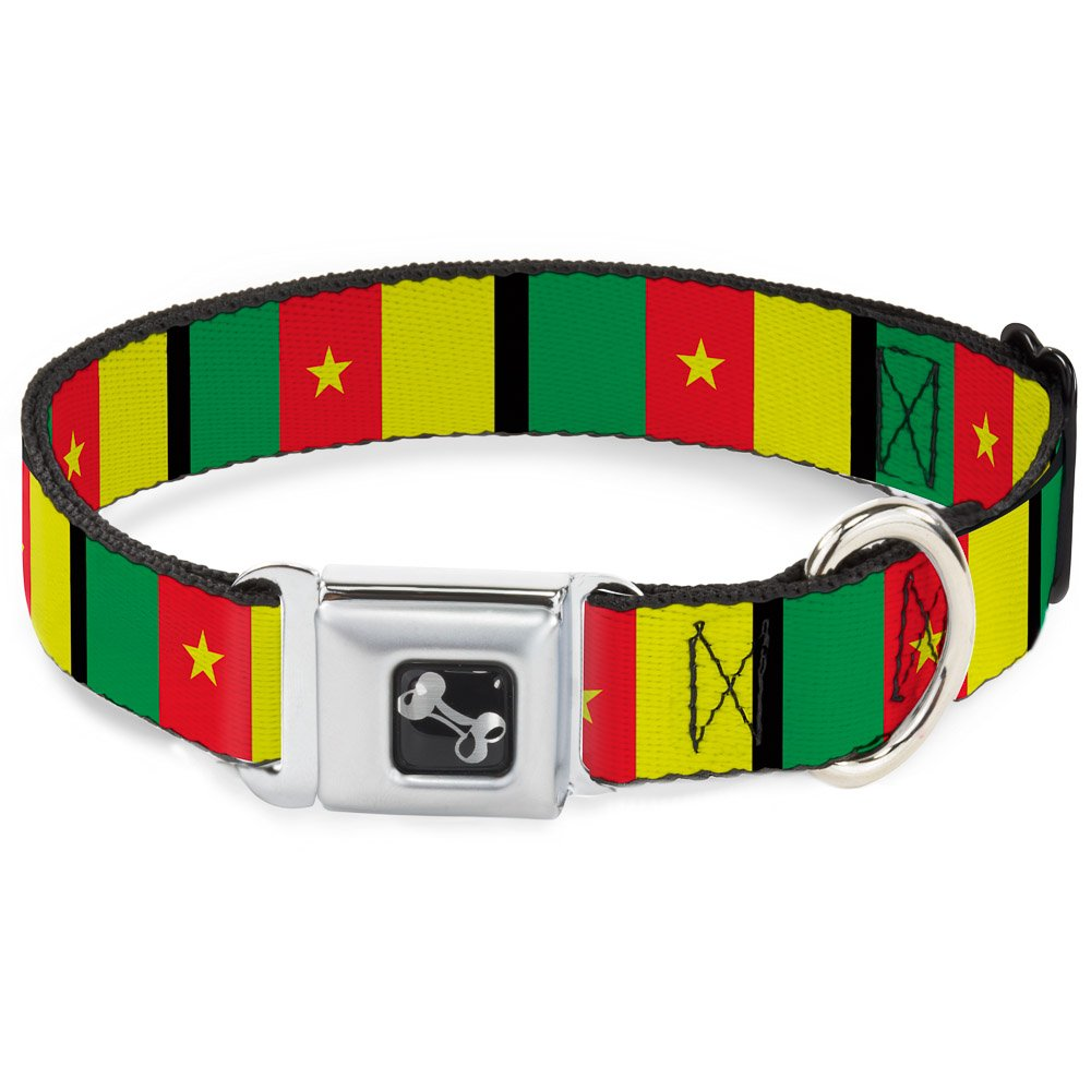 Buckle-Down Cameroon Flags Dog Collar Bone, Wide Medium 16-23