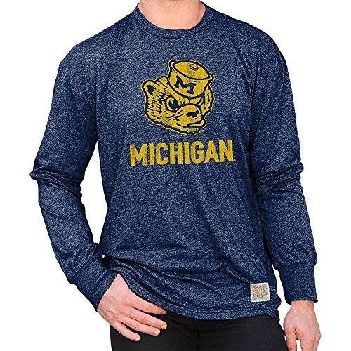 Elite Fan Shop Michigan Wolverines Retro Long Sleeve Tshirt Navy - M - Navy Blue