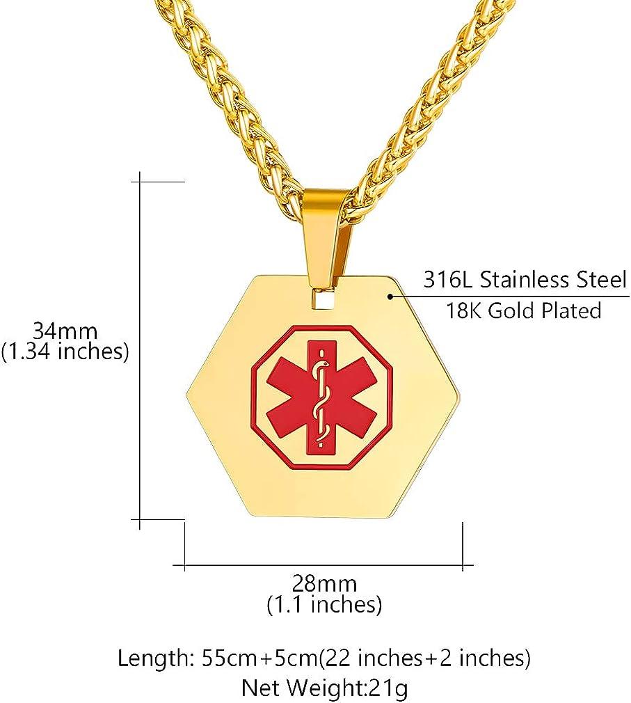 Custom4U Placa de Identidad Cruz Roja Personalizado Collar Acero Inoxidable 316L Joyer/ía Medical ID SOS de Emergencia con Informaciones Grabados