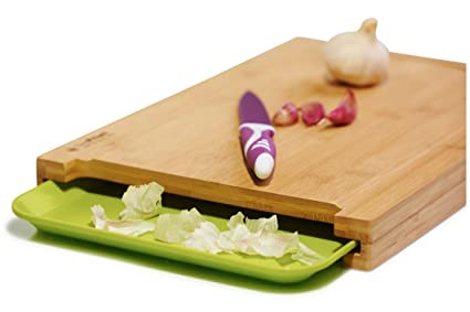 SimPrium   Premium Bamboo Cutting Board With Drip Groove And Plastic Tray  For Easy Waste Removal