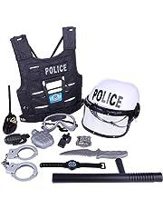 HYZH 11 Stück Kinder Polizei Kostüm Set mit Helm, Schlagstock, Handschellen, Funkgerät und Polizeimarke