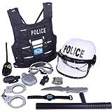 Yvsoo 11Pcs Juguete Policiales Disfraz Policía Juguete Playset con Brazos y Accesorios para Niños