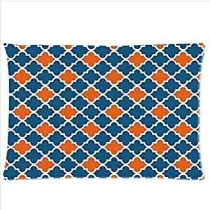 Best Seller Moroccan Orange And Navy Cornflower Blue Moroccan tile Quatrefoil Pillowcase,Twin Sides Pillowcase Pillow Cover 20x30 inches