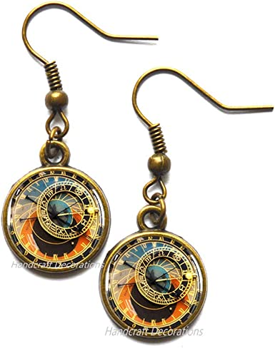 HandcraftDecorations Astronomical Clock Stud Earrings,Clock Earrings,Prague Earrings,Prague,Geekery Clock,Clock Charm,Steampunk Clock Jewelry,Steampunk Earrings.F050