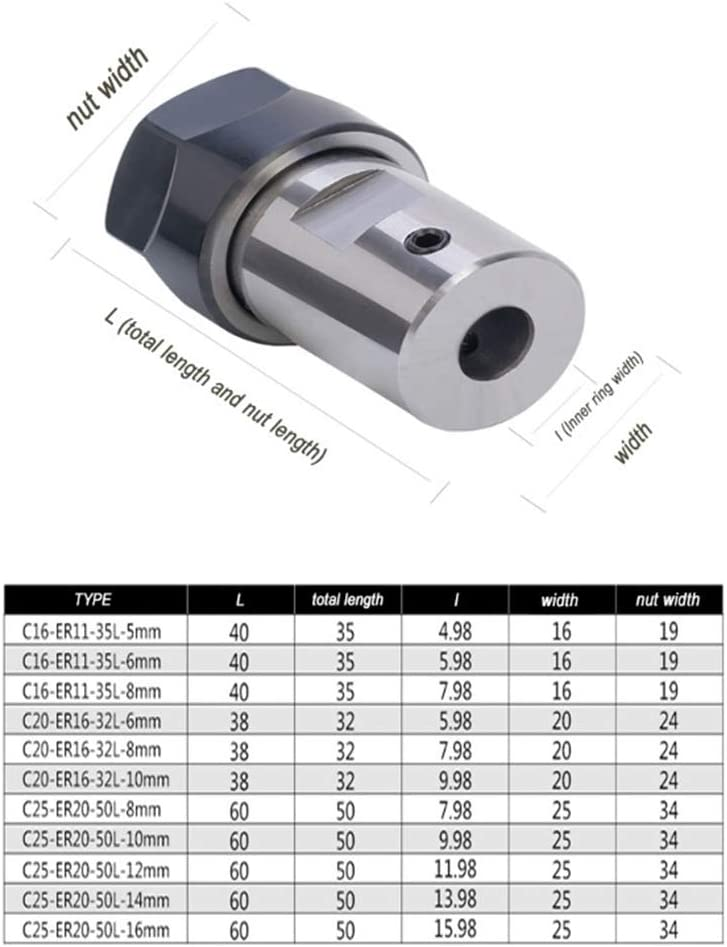ER20-16mm Almencla Verl/ängerungsstange Spannzangenhalter Motorwelle Werkzeughalter