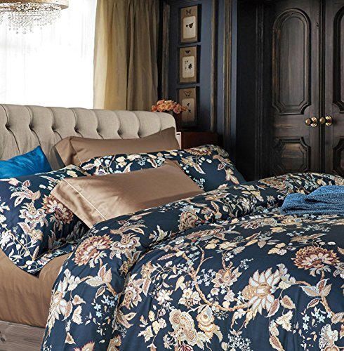 Luxury Jacobean Floral Garden 3 Piece Duvet Cover Set Beige Blue English Vintage Floral Pattern 100-percent Combed Cotton (King, Navy Taupe) (Floral Print Jacobean)