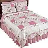 Collections Etc Hadley Floral Patchwork Reversible Lightweight Quilt, Rose, Full/Queen