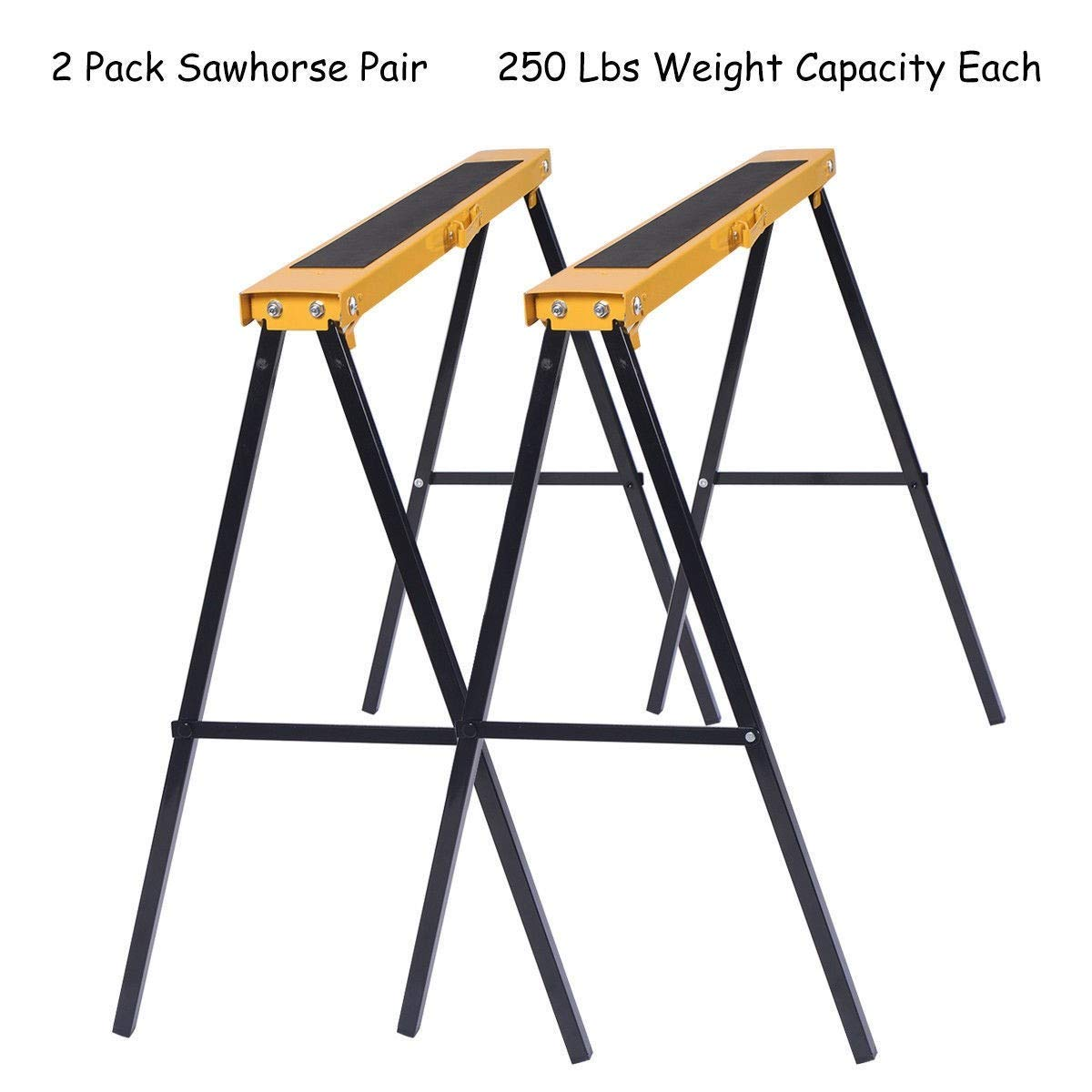 Sawhorse Heavy Duty Folding 2 Pack Steel Portable Saw Horse Legs Pair Workshop MD Group by MD Group (Image #3)