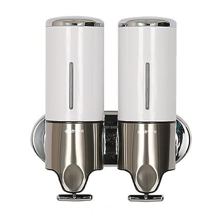 MGS Dispensador De Jabón Líquido En ABS y Acero Inoxidable De Doble Pared Baño Cocina Montada