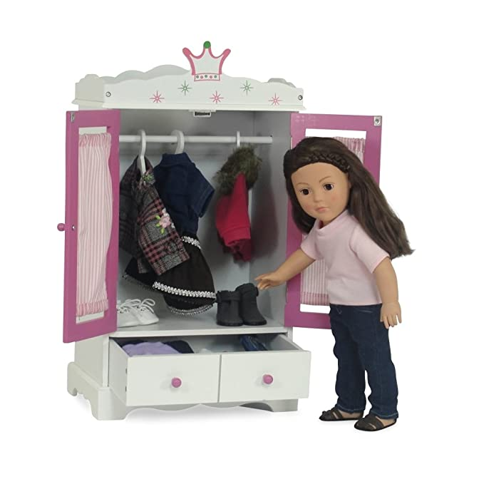 18 Inch Doll Wish Crown Storage | Doll Armoire Closet Furniture | Fits 18  American Girl ...