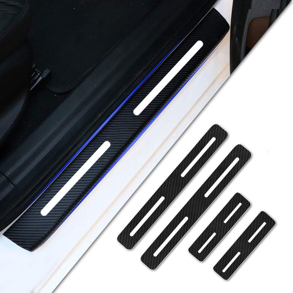 Tuqiang 4Pcs Carbon Fiber Pattern Vinyl Sticker Car Door Sill Scuff Guard Anti-kick Scratch Car Door Sill Protector for C1 C3 Grand C4 Picasso