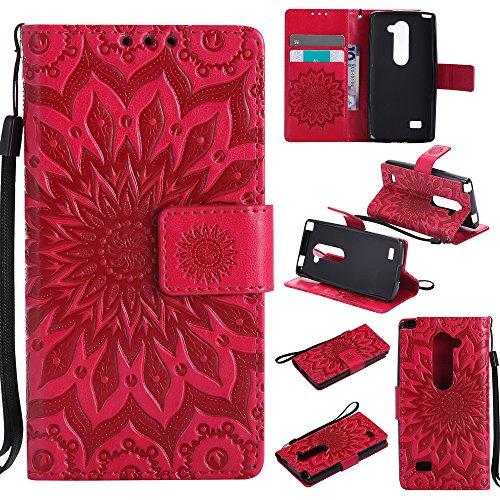 Rilievo Lg Custodia Credito Per Con H320 H340n Katu22645 Porta Portafoglio Leon Cover Rosso Lomogo Chiusura Di Magnetica Fiore Rosa Carta Pelle In qYOX5n