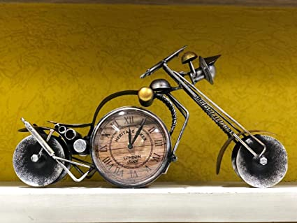 The First Choice Table Clock Vintage Bike Design Metal Watch Silver Size 19 * 9