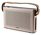 PINSHOW Goldentime Cowhide Strap Portable Bluetooth 4.0 Wireless Speaker Support Power Bank Function (golden)
