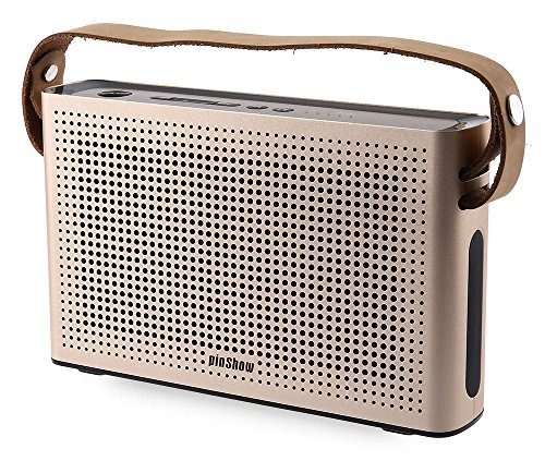 PINSHOW Goldentime Cowhide Strap Portable Bluetooth 4.0 Wireless Speaker Support Power Bank Function (golden) by PINSHOW (Image #1)