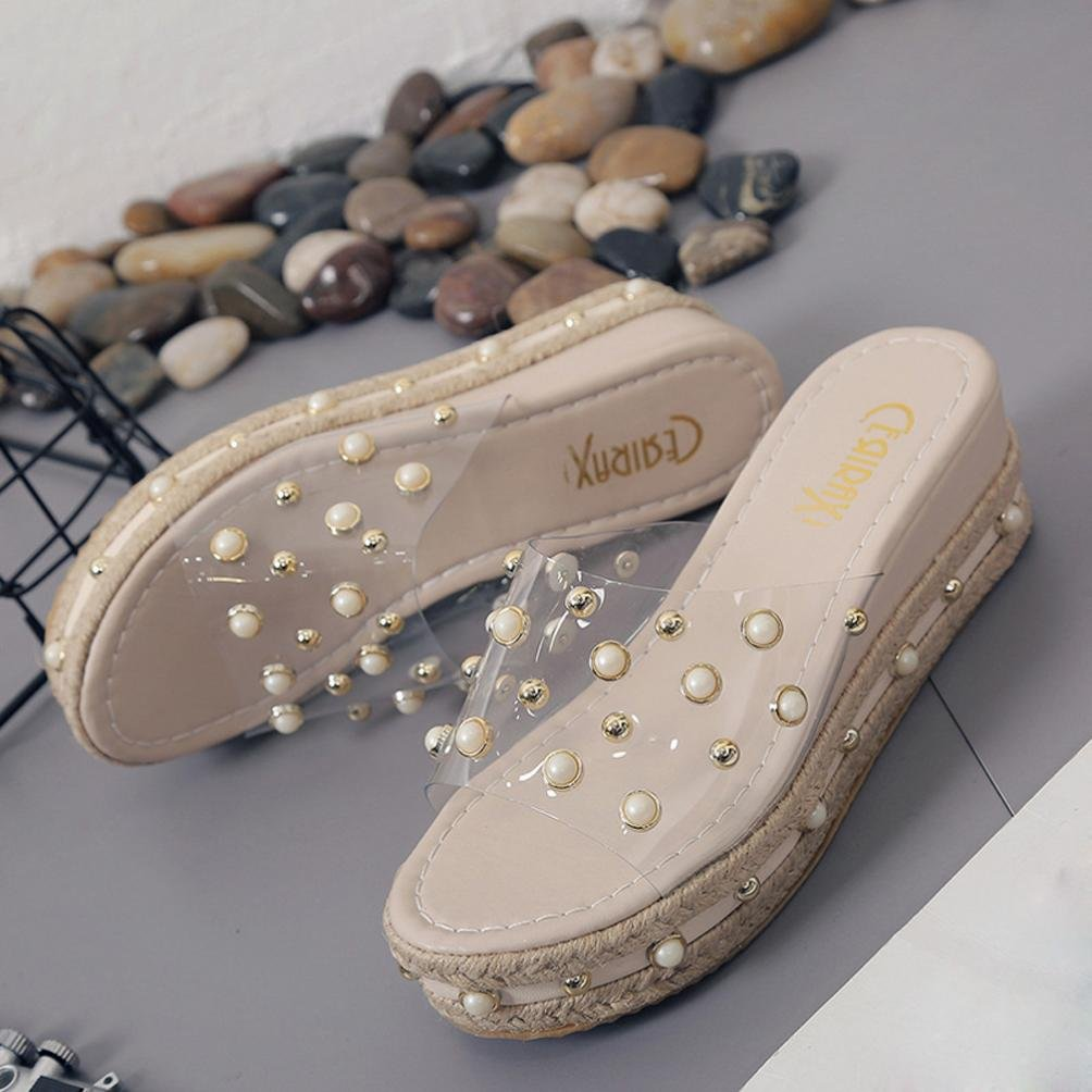 Summer Shoes,AIMTOPPY Pearl Sandals Thick Slope with Word Slipper Rhinestone Non-Slip Shoes for Women (US:5.5, Khaki) by AIMTOPPY (Image #5)