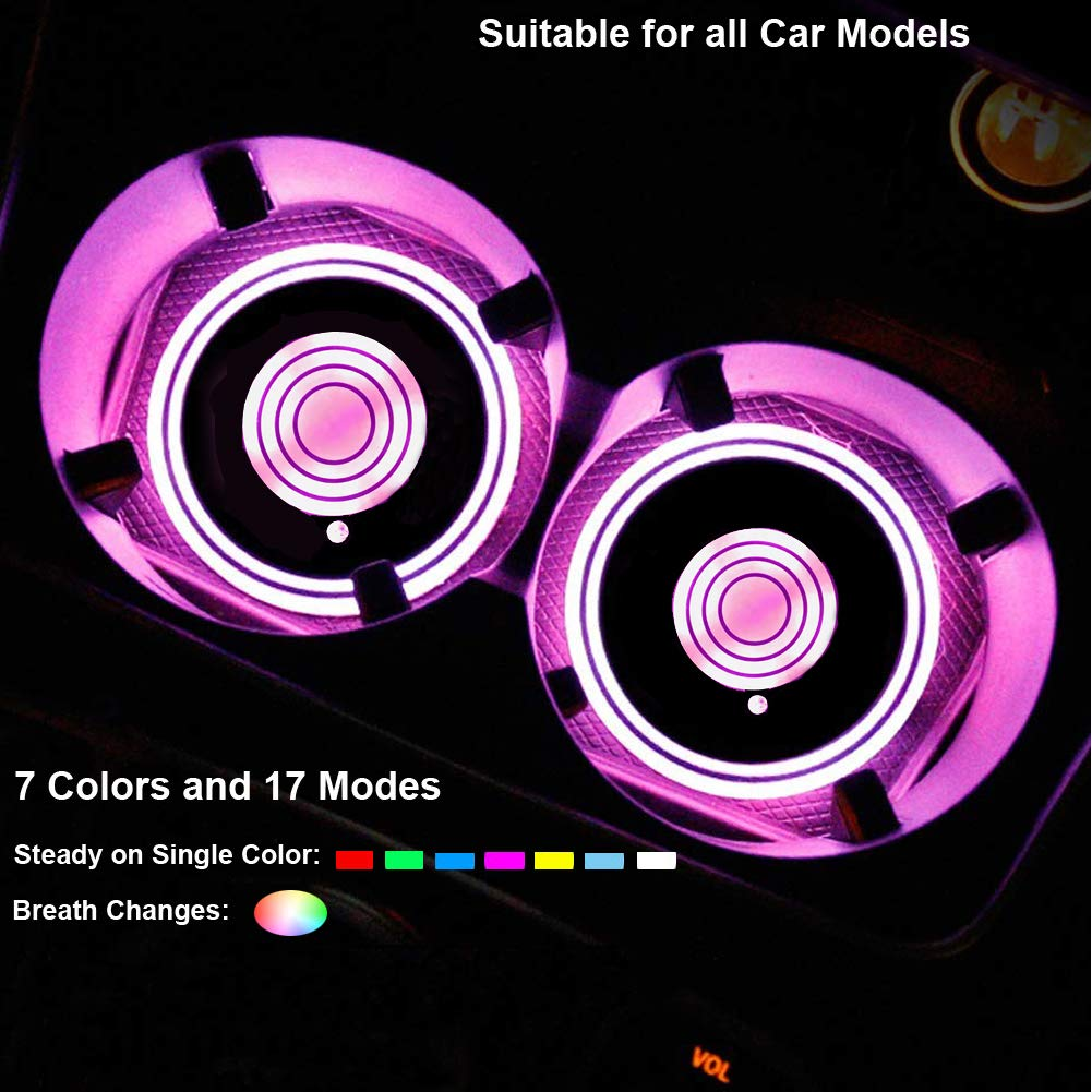 Snow Eagle-L LED Car Cup Holder Lights 7 Colors Changing USB Charging Mat Luminescent Cup Pad LED Interior Atmosphere Lamp