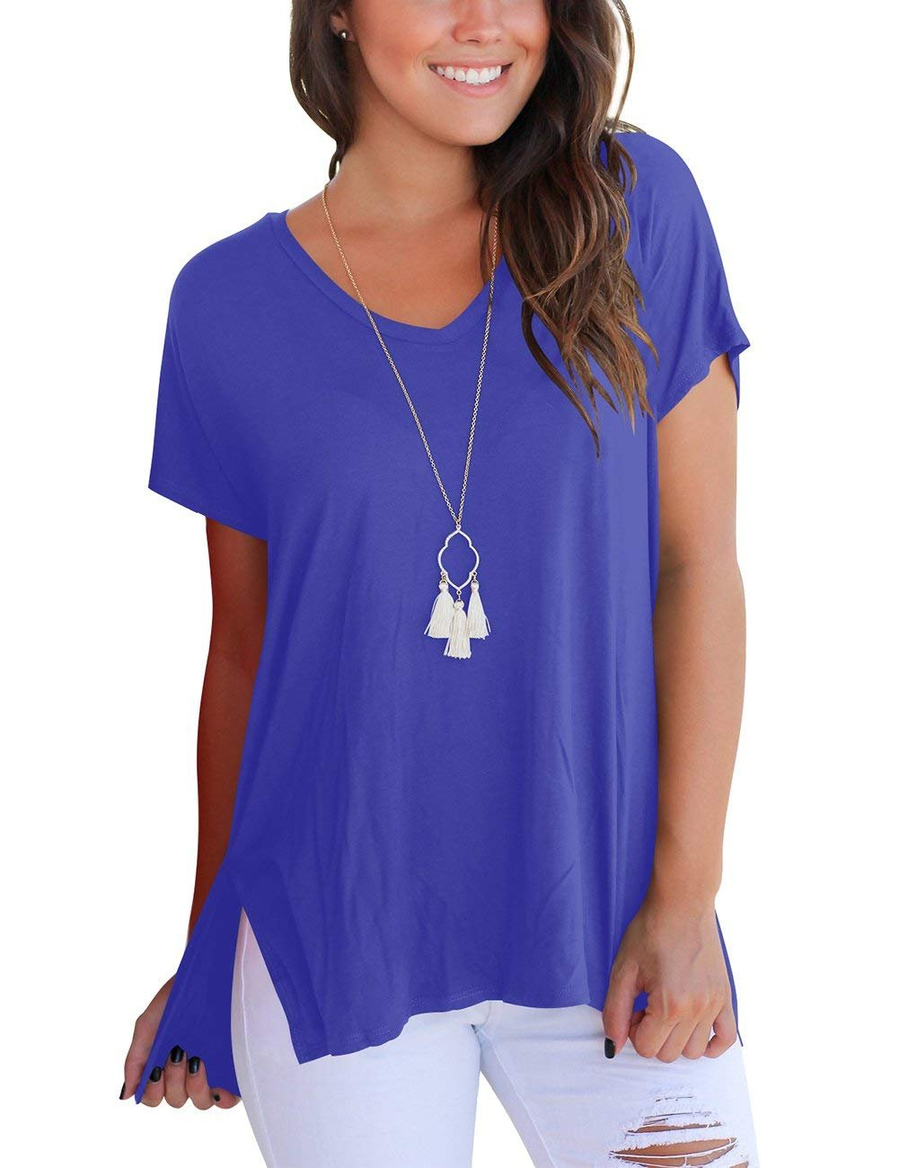LILBETTER Women's Short Sleeve High Low Loose T Shirt Basic Tee Tops with Side Split (L, Royal Blue)