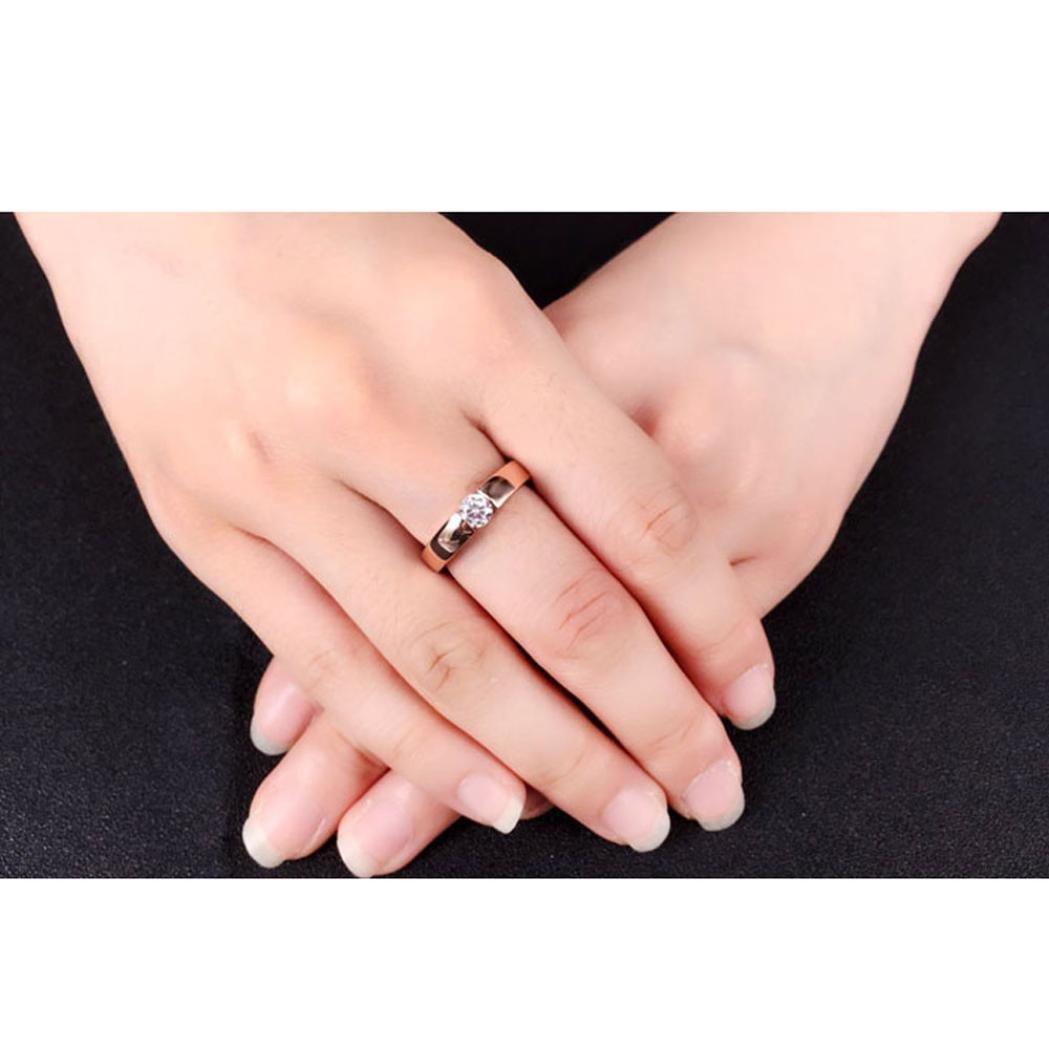 Amazon.com: Lethez Couple Rings, Women Men Diamond Ring Promise ...