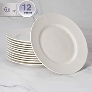 amHomel 12-Pack 6 inch Durable Porcelain Dessert Plate Set, Elegant White Serving Plates