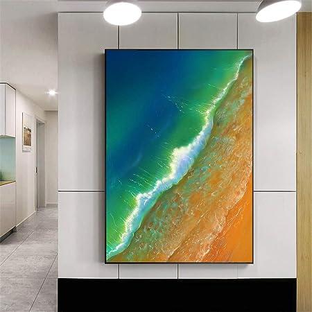 NIMCG Cartel de Belleza Playa Orilla Azul Ola Pintura océano ...