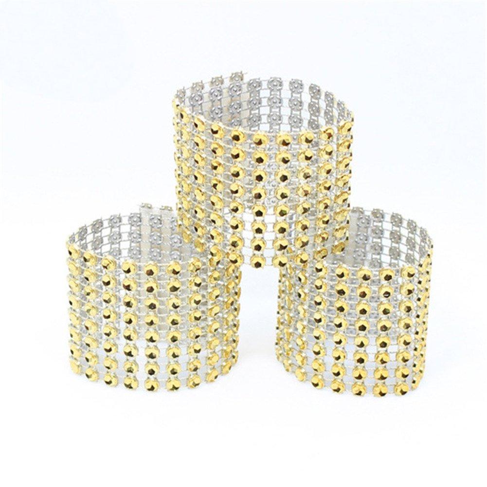 WeddingBobDIY Set of 50Pcs Rhinestone Bling Napkin Rings Diamond Silvers Wedding Decoration (gold)