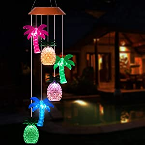 Solar Coconut Tree Pineapple LED Wind Chimes Outdoor - Waterproof Solar Powered Changing Light Color Trees Pineapples Mobile Romantic Wind-Bell for Home, Party, Festival Decor, Night Garden Decoration