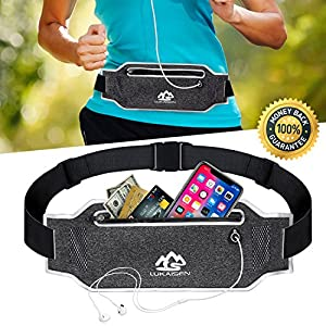 Running Belt Fanny Pack for Women Men Waist Bag Sport Accessories Workout Comfortable Adjustable Water Resistant Pouch Jogging Hiking Cycling Fitness Travel for iPhone X 6 7 8 Plus Samsung (Black)