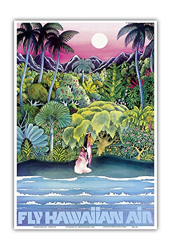 Fly Hawaiian Air - Hawaii Women on The Beach - Hawaiian Airlines - Vintage Airline Travel Poster c.1960s - Master Art Print - 13in x - Vintage Beach Hawaiian Art