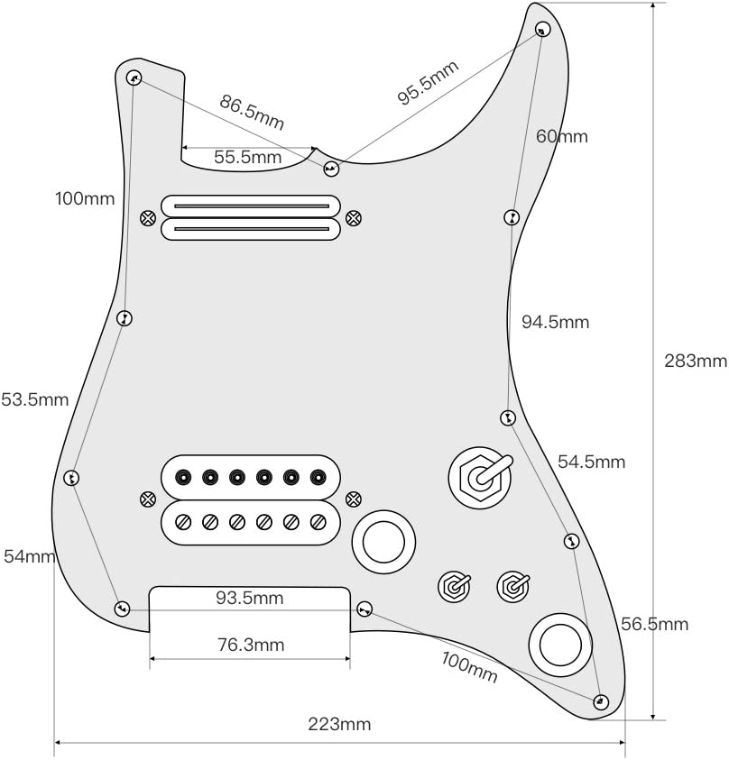 4Ply White Pearl OriPure Guitar Pickup Pickguard SH Loaded Pickguard Set with Alnico 5 Humbucker Pickup for Electric Guitar Part